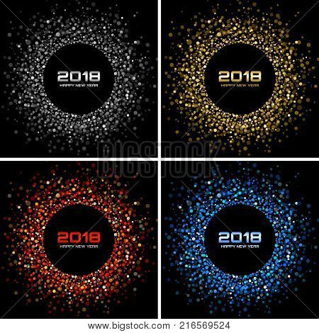 vector happy new year 2018 card background silver light disco lights halftone circle frame