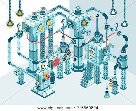 Complex 3D isometric industrial abstract intricate machine of pipes motors levers gauges pumps and so on. It can be disassembled into individual parts.