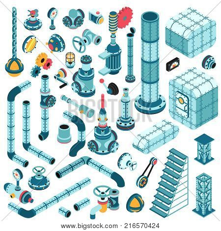 Spare parts for creating complex industrial machines - pipes cranes hulls valves splitters fittings flanges portholes and so on. Isometric 3d illustration.