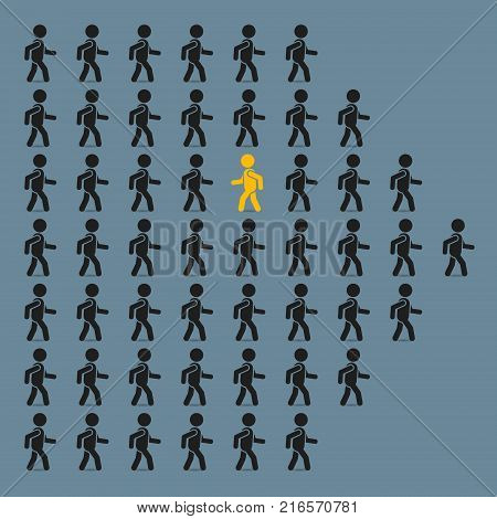 Think different business concept unique man going to opposite direction. Vector illustration.