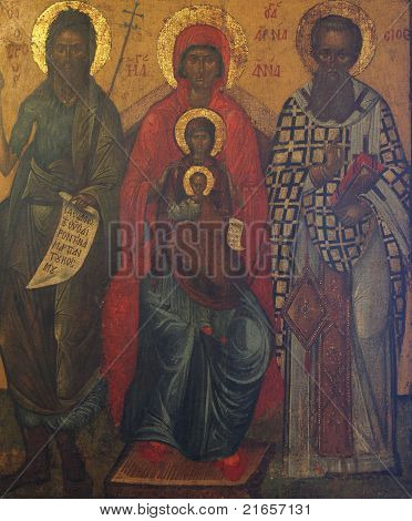 St. John the Baptist, st. Ann, st. Joachim and Madonna with Child Jesus, painting on the church altar poster