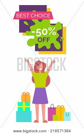 Best choice -50 , banner with woman dressed in green shirt and purple skirt, with presents and bags beside her vector illustration