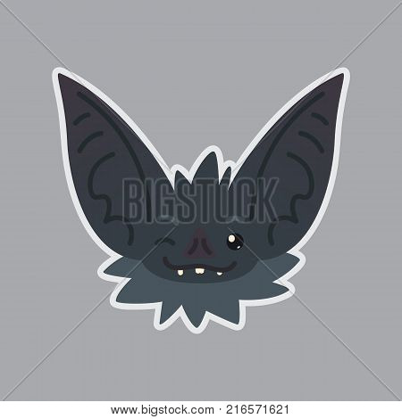 Bat sticker. Emoji. Vector illustration of cute Halloween bat vampire shows blink eye emotion. Isolated emoticon icon with sublayer. Bat-eared grey creature s snout. Print design. Badge.
