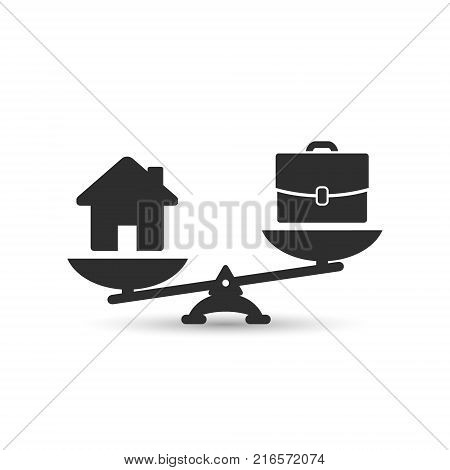 Home and business scales icon. Weight between work money and your family. Career and family are on the scales. Balance your life business concept. Family or money. Vector isolated illustration.