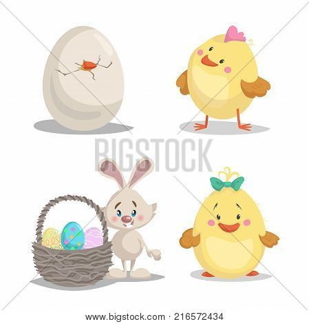 Spring character mascot and seasonal vector illustrations set. Hatched egg. cute chick boy and girl easter bunny with basket with painted eggs.