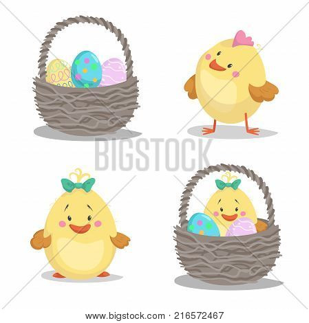 Spring easter symbols and seasonal vector illustrations set. Basket cute chick boy and girl easter bunny with painted eggs.