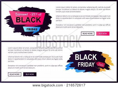 Discount -25 off Black Friday big sale 2017 promo label inscription informing about special offer, commercial web banners with text vector illustrations