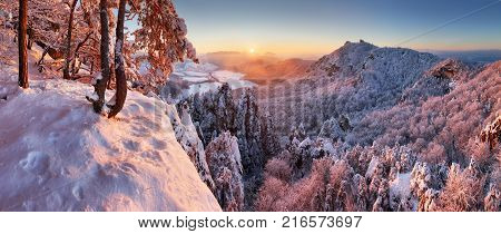 Beautiful winter panorama landscape with snow covered trees Slovakia mountain