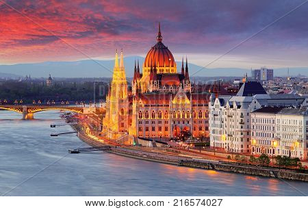 Hungarian parliament in Budapest at a sunset