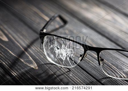 Broken Glasses On The Green Background