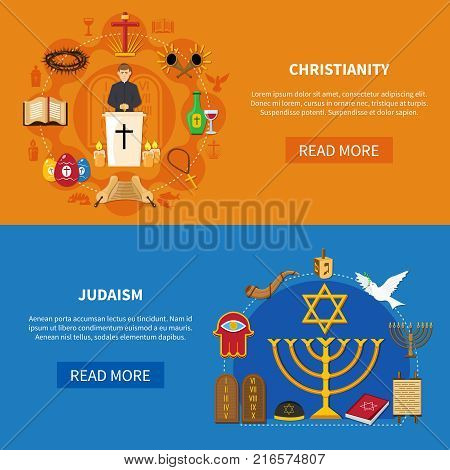 Two colored horizontal religions banner set with Christianity and Judaism descriptions and read more buttons vector illustration