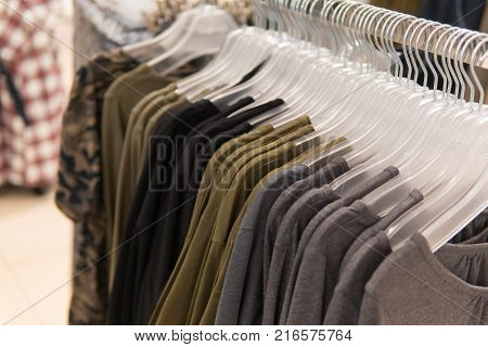 Men Clothes, Row Of Shirts On The Racks, Shopping