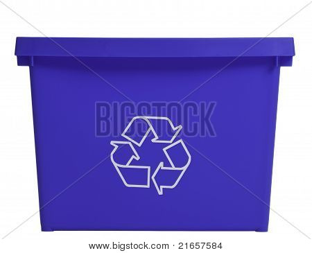 Blue Recycling Bin, Frontal View