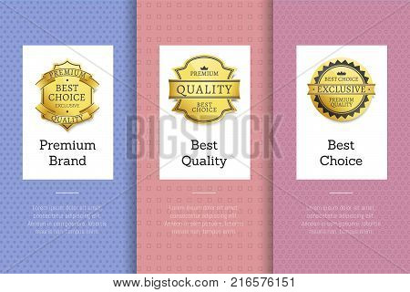 Premium brand best quality choice golden labels set of logos design on colorful posters with text vector illustrations collection with stamps of gold