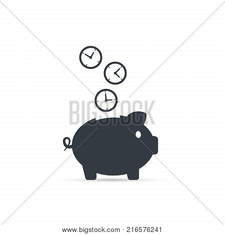 Save time concept. Time is money piggy bank icon vector illustration.