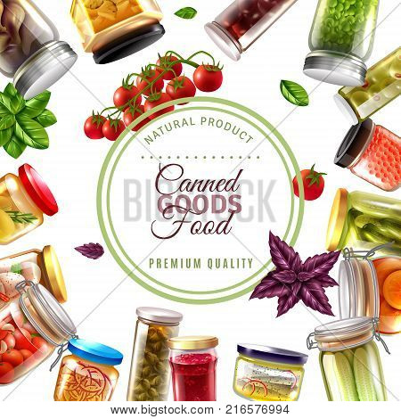 Canned food frame with label, fish products, fruits, vegetables in glass jars on white background vector illustration