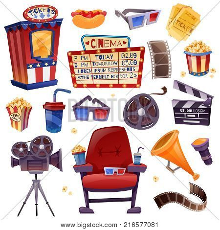 Cinema cartoon icons set with camera, film, clapper, drink and snacks, armchair, glasses, tickets isolated vector illustration