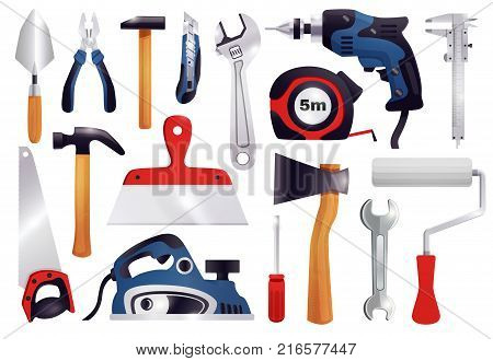 House repair renovation remodeling realistic carpentry tools set with claw hammer saw screwdriver measure tape vector illustration