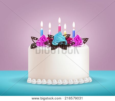 Birthday cake with candles chocolate and whipped cream realistic vector illustration