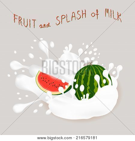 Abstract vector icon illustration logo for whole ripe berry red watermelon splash of drop white milk. Watermelon pattern consisting of splashes drip flow liquid Milk. Eat fruits watermelons in milks.