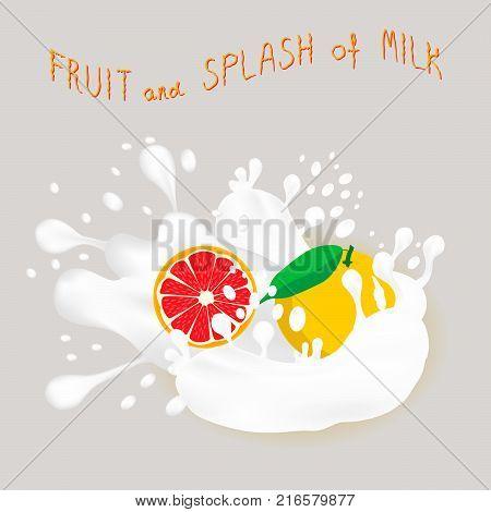Vector icon illustration logo for ripe citrus fruit red grapefruit splash of drop white milk. Grapefruit pattern consisting of splashes drip flow liquid Milk. Eat citrus fruits grapefruits in milks.