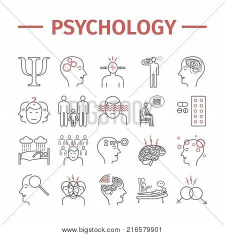 Psychology vector icons set. Infographic. Vector signs for web graphics.