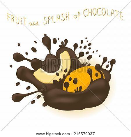 Abstract vector illustration logo for fruit yellow honey melon splash of drop chocolate. Melon pattern consisting of splashes drip flow liquid Chocolate. Eat sweet fruits honeys melons in chocolates.