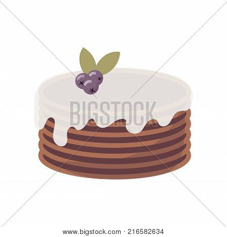 Flat icon of multi-layer chocolate cake with whipped cream and blueberry on top. Sweet brown pie, pastry with berries for bakery, cafe and restaurant. Vector cartoon illustration isolated on white.