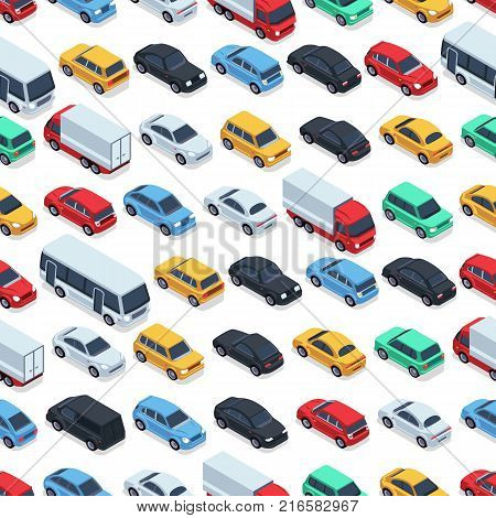 Urban cars seamless texture. Vector background. Isometric cars. Seamless pattern color car illustration