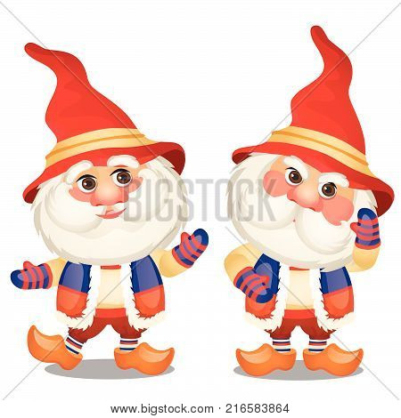 Set of funny gnome isolated on a white background. Sketch of Christmas festive poster, party invitation, other holiday card. Vector cartoon close-up illustration.