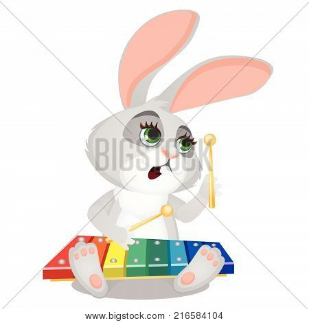 Small wild forest animal play on musical instrument. Bunny with xylophone isolated on white background. Sketch of festive poster, party invitation, holiday card. Vector cartoon close-up illustration