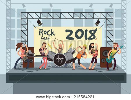 Music performance on stage with young musicians. Rock concert vector background. Musician group with guitarist, keyboardist and vocalist illustration