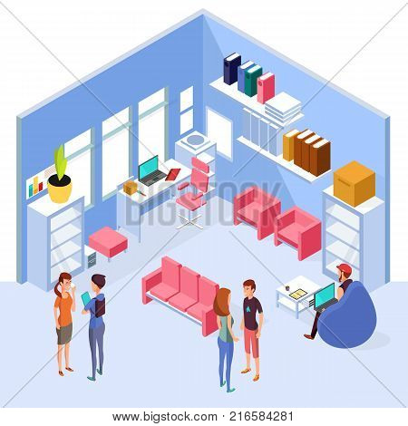 Isometric home office interior. 3d workspace with computer and furniture with people. Interior of isometric office room with table and chair illustration