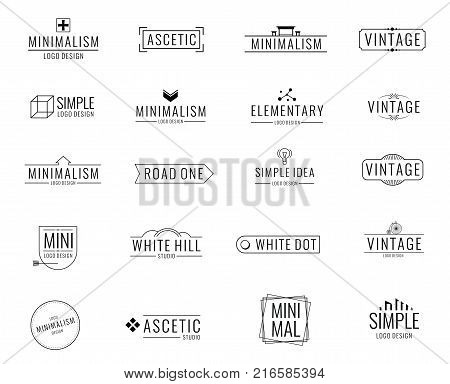 Modern minimal business vector logos. Brand emblem in minimalism design style. Minimal emblem and logotype company, badge branding minimalism style illustration