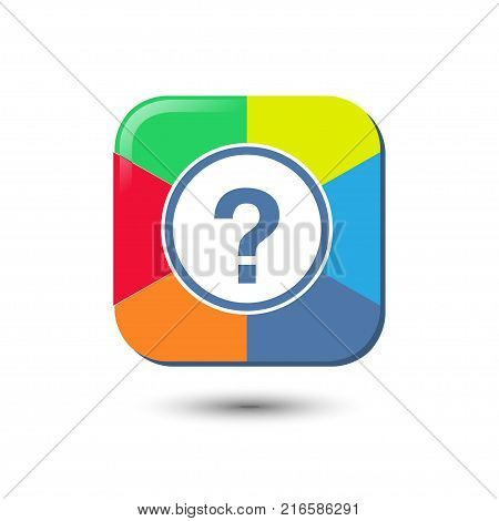 Question icon. Vector illustration style is a color iconic question color rectangle symbol inside red circle with black, gray, green, blue, red, orange color additional versions.
