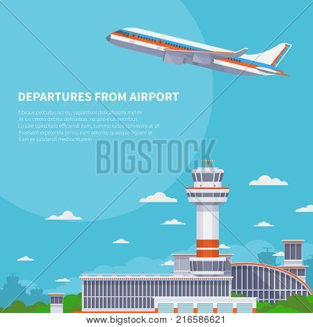 Airplane takeoff on runway in international airport. Tourism and air travel vector concept. Airplane departure from international terminal illustration