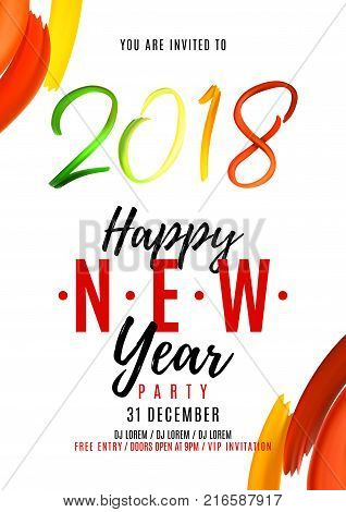 2018 New Year Party Vector & Photo (Free Trial) | Bigstock