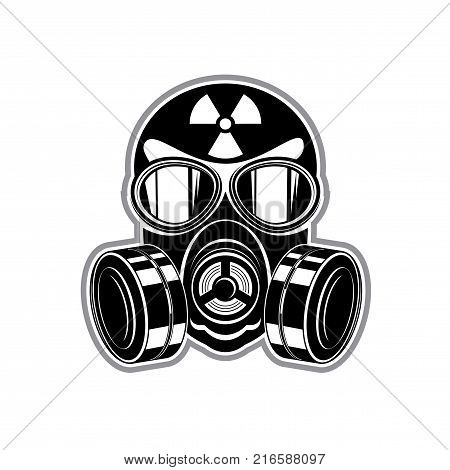 Vector illustration of a silhouette of a protective suit, gas mask with lenses and sign of radiation danger
