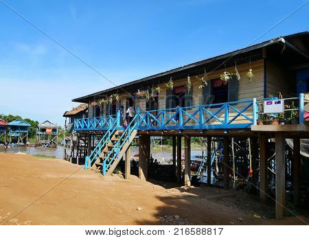 Tonle Sap Lake Siem Reap Cambodia - August 11 2017: Cambodian school children at the floating village on Tonle Sap Lake in Siem Reap Cambodia