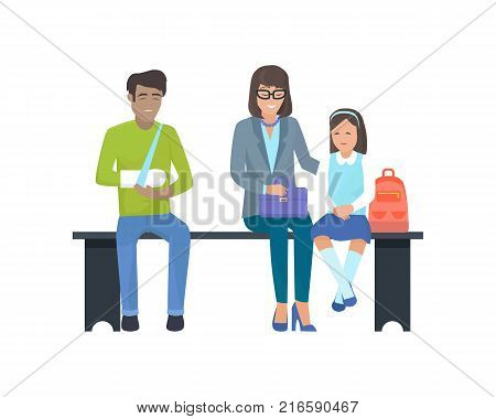 Patients waiting for doctor, unhappy man with broken arm and woman with kid smiling, people sitting on black bench vector illustration