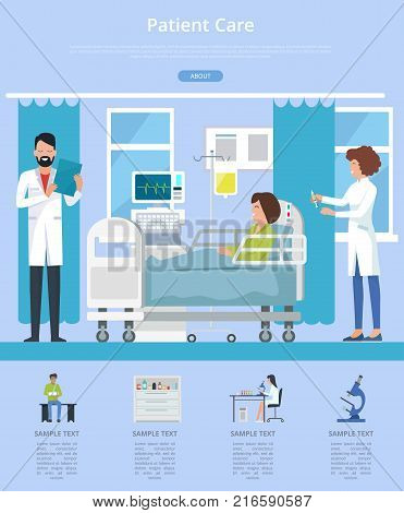 Patient care visualization with doctor and nurse taking care after woman patient sitting on hospital bed. Vector illustration of clinic room on blue background