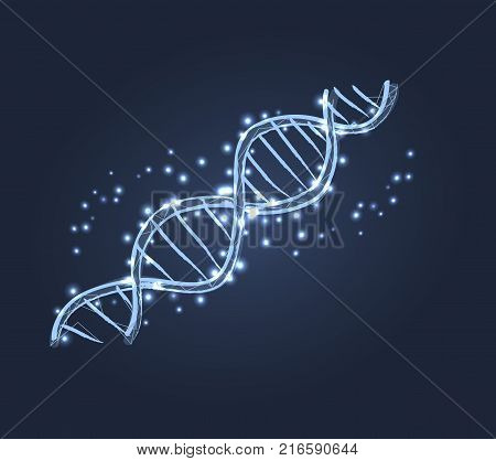 DNA code structure with chromosomes radiate light white glow. Vector illustration of gene code icon isolated on dark blue background