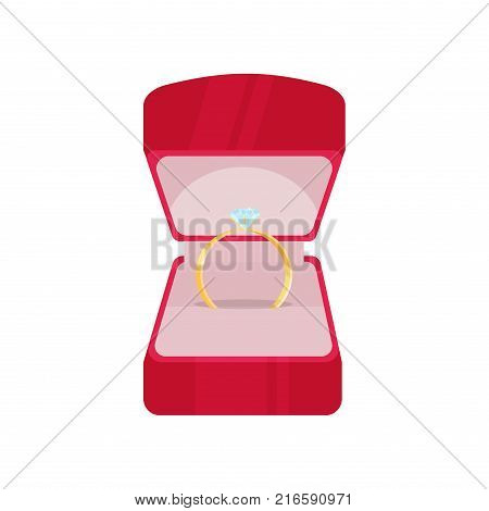 Wedding ring in red box with diamond love marriage celebration jewelry marry gold symbol jewellery vector illustration. Romance ceremony jewel gift groom bride luxury box.