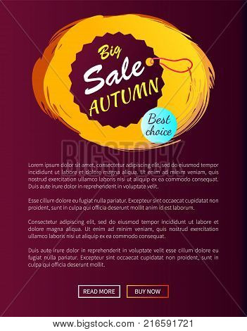 Best choice big sale autumn hanging round promo label on vector illustration web banner with place for text on violet background, fall season concept