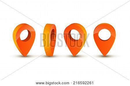 3d pointer icon for map. Pointer pin marker for travel place vector illustration.