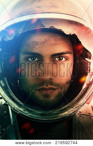 Space mission .Closeup portrait of an Astronaut in outer space