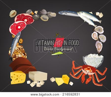 Vitamin B12 vector illustration. Foods containing cyanocobalamine on a grey background. Source of animal protein factor - seafood, fish, dairy products. Medical, healthcare, dietary creative concept.