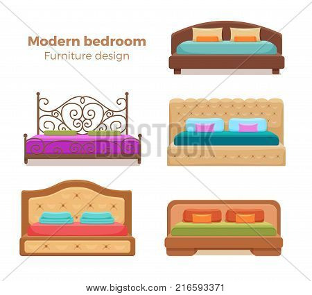 Set of colorful beds with pillows and blankets. Vector collection of modern bedroom design elements. Cartoon style furniture for hotel, homes, shops, advertisement, banners, prospects