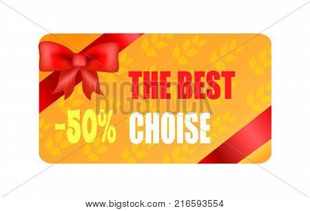 The best choice - 50 autumn sticker with red bow and ribbon in corners vector illustration of gift card on background of leaves half price discount