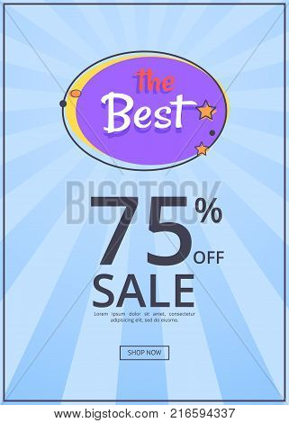 The best night sale banner with moon and stars 75 percent off vector poster isolated on blue with rays. Best price offer at midnight clearance shop now